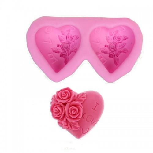 Heart-shaped Rose Silicone Baking Mold Fondant Cake Mold DIY Chocolate Handmade Soap Mold Tools