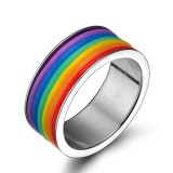 Fashion Stainless Steel Finger Ring Rainbow Silicone Ring for Women Men LGBT Band Unisex Jewelry