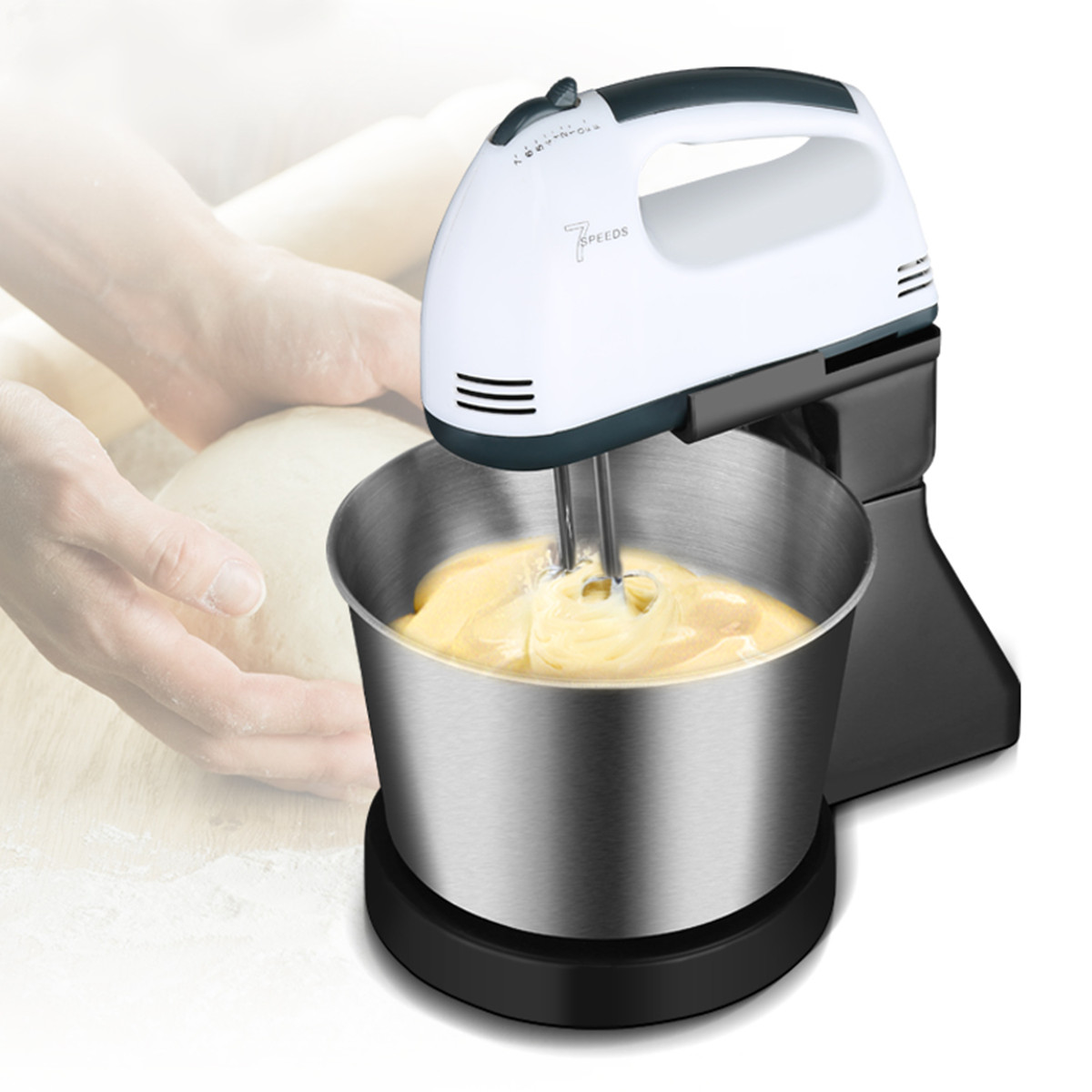 7 Speed Electric Egg Beater Dough Cakes Bread Egg Stand Mixer + Hand Blender + Bowl Food Mixer