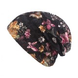 Women Summer Breathable Thin Flowers Ethnic Cotton Lace Beanie Hat Vintage Good Elastic Turban Caps