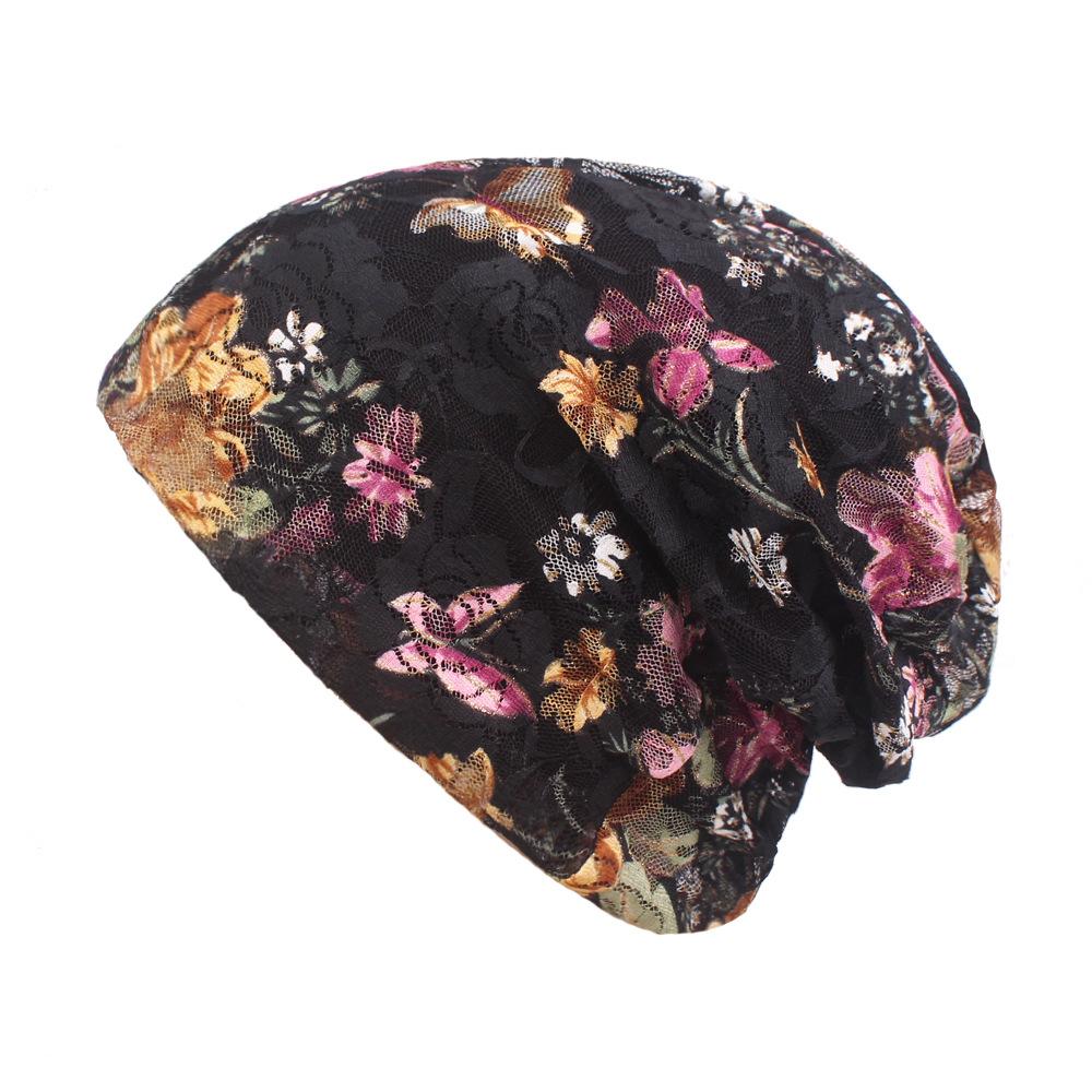 0b12e2a4 Women Summer Breathable Thin Flowers Ethnic Cotton Lace Beanie Hat Vintage  Good Elastic Turban Caps