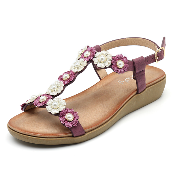 06fc02660 SOCOFY Flowers Bohemian Soft Flat Clip Toe Beach Slippers