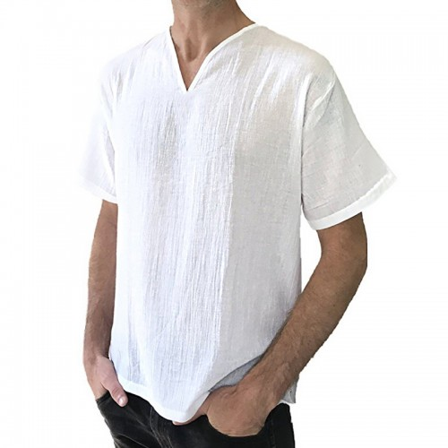 Men's Cotton Breathable V-neck Loose Fit T-Shirts Casual Solid Color Short Sleeve Tops