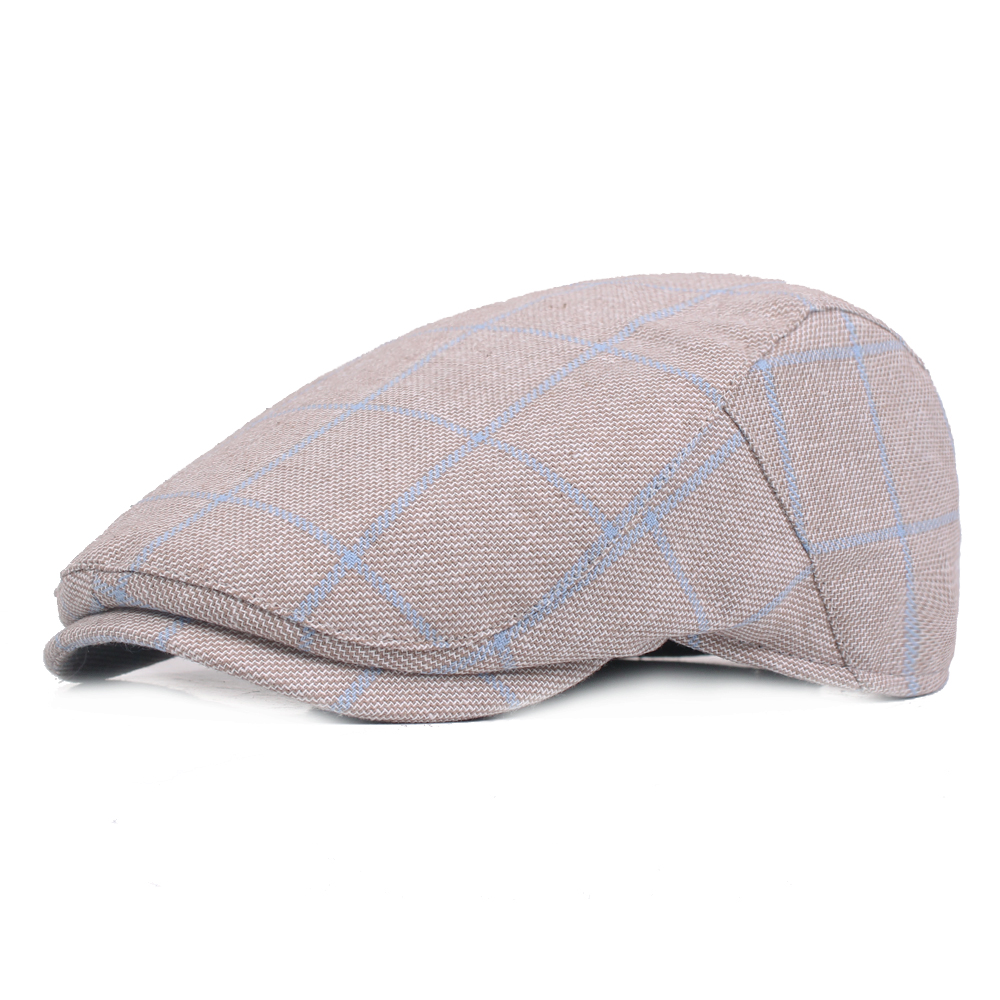 3f8ac77e2a24 Mens Plaid Adjustable Beret Caps Cotton Newsboy Ivy Hat Painter Flat Cap
