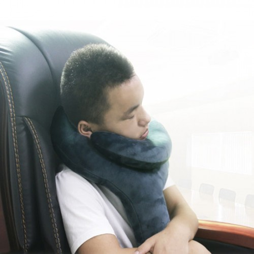 Q Shape Inflatable Decompression Support Headrest Portable Pillow Neck Head Chin Memory Cushion
