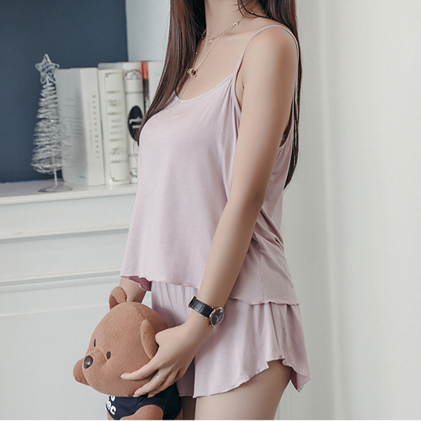 Plus Size Soft Modal Loose Women Homewear Summer New Sexy Sleeveless Two Pieces Sleepwear Set