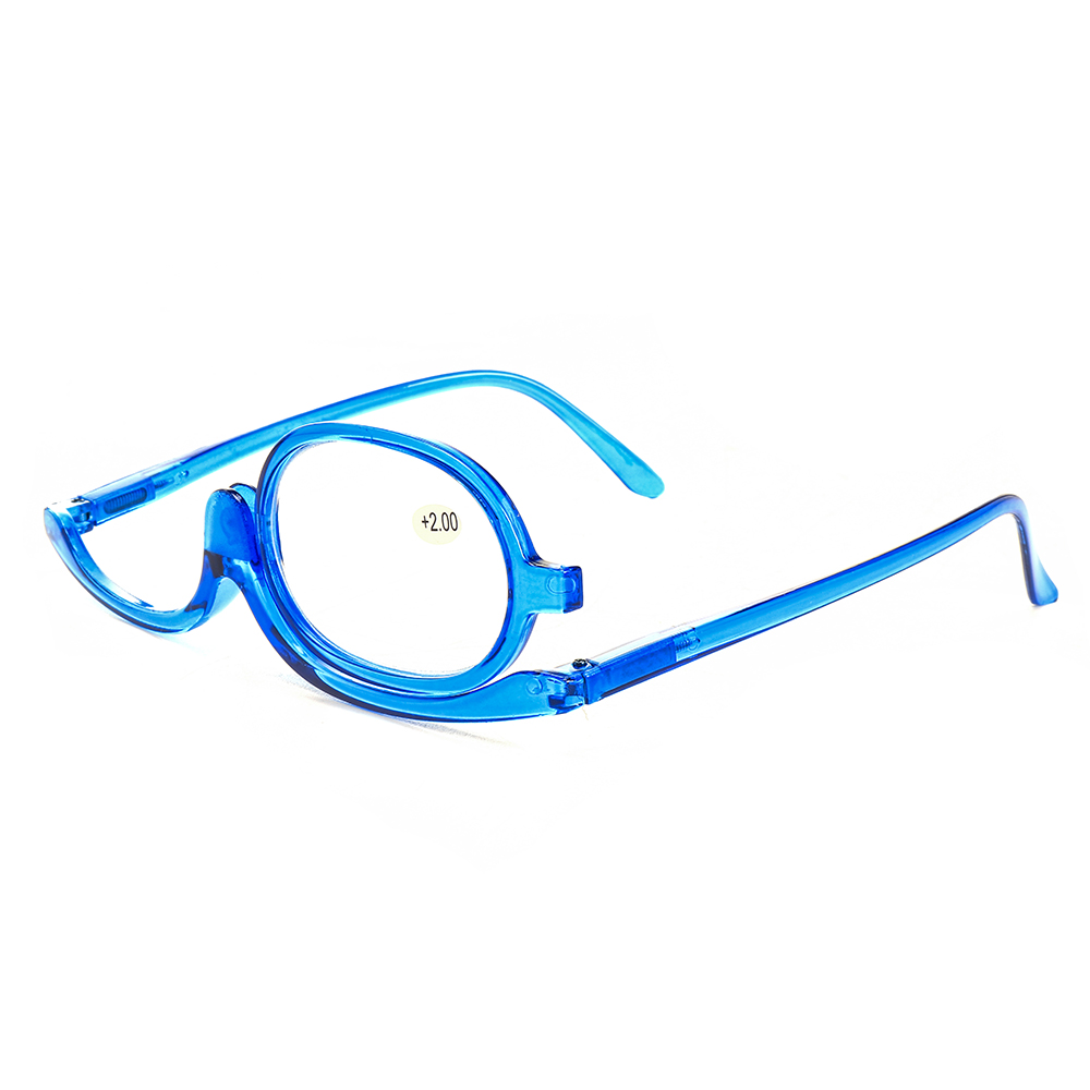 Women Rotatable Magnify Eye Makeup Cosmetic Glasses Reading Glasses Flipup Round Glasses