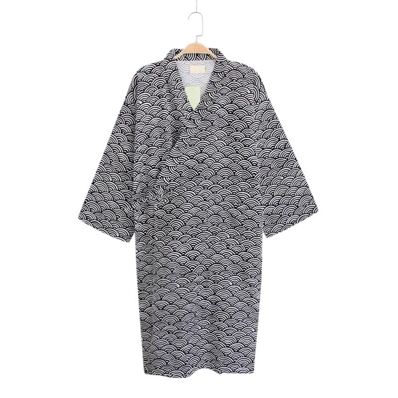 Mens Drawstring Japanese Style Kimono Cotton Breathable Sleepwear Robes