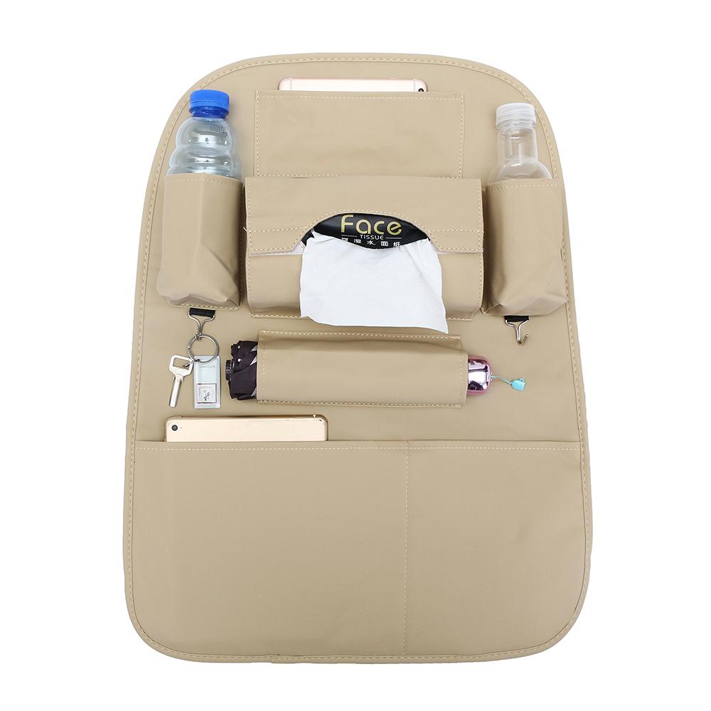 pu leather car seat back storage bag waterproof seat cover multi