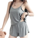 Plus Size Soft Modal Loose Women Homewear Summer New Sexy Sleeveless Two Pieces Sleepwear Set