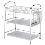 3 Layer Tier Chrome Alloy Dish Drainer Cutlery Holder Rack Drip Tray Kitchen Drain Shelf
