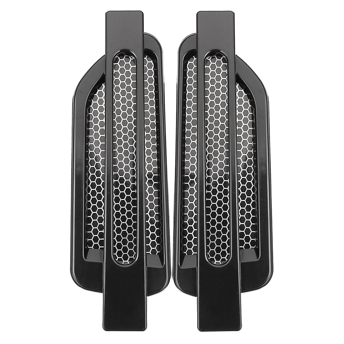 Pair Black Auto Car Side Air Flow Vent Fender Decorative Decor Sticker Universal