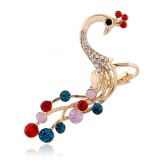 1 pc Ethnic Peacock Silver Earring Colorful Rhinestones Ear Cuff Cartilage Earring for Women