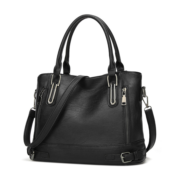 Women Faux Leather Large Capacity Tote Bag Solid Handbag Leisure Crossbody Bag