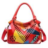 Women Genuine Leather Rivet Fashion Patchwork Handbag Crossbody Bag