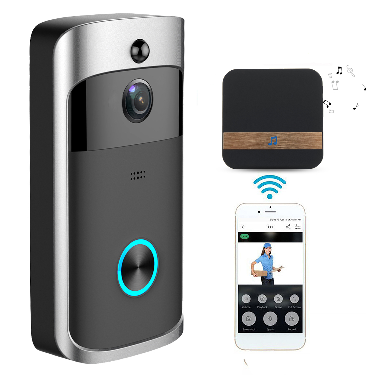 wireless camera video doorbell home security wifi smartphone remote video rainproof. Black Bedroom Furniture Sets. Home Design Ideas