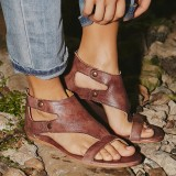US Size 5-12 Gladiator Thong Casual Zipper Casual Sandals