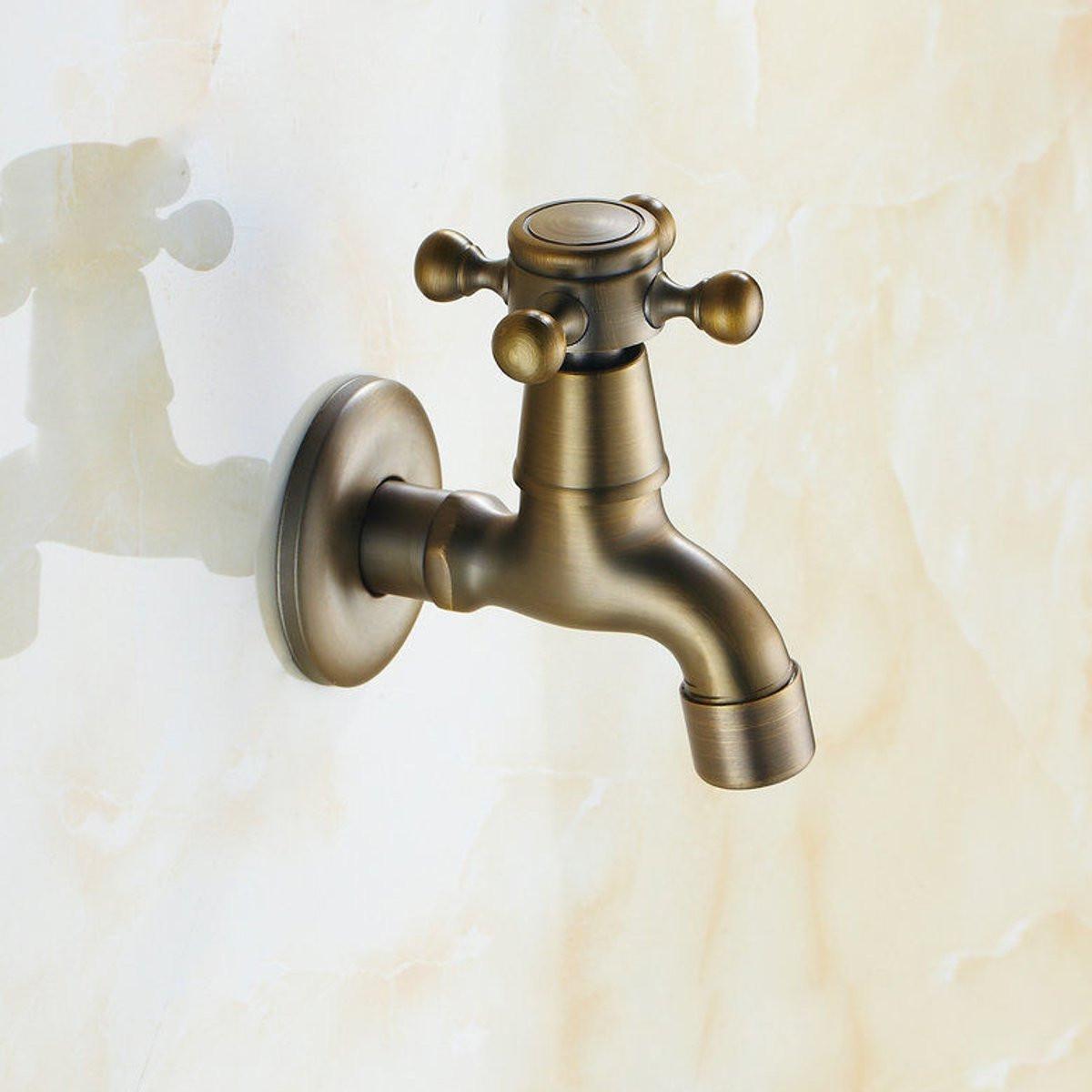 Antique Brass Wall Mounted Garden Bathroom Basin Faucet