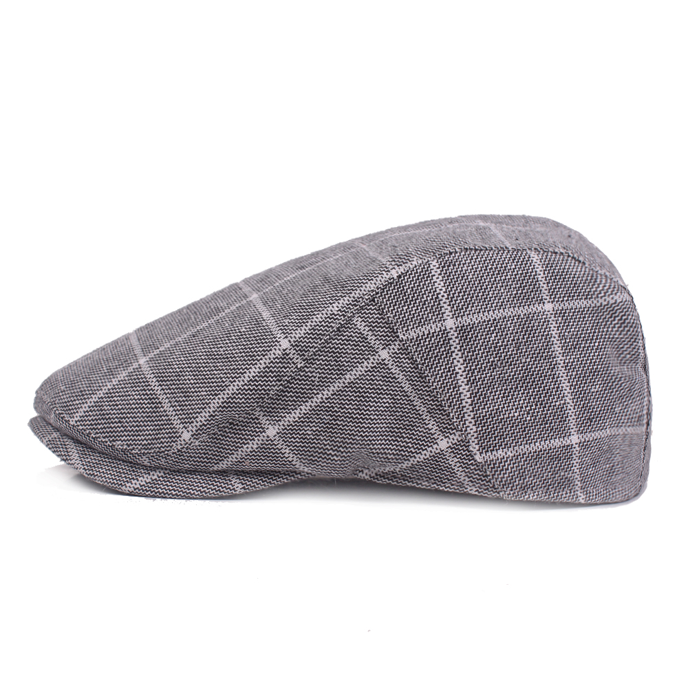Mens Plaid Adjustable Beret Caps Cotton Newsboy Ivy Hat Painter Flat Cap