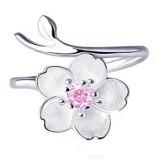 925 Sterling Silver Women Ring Purple Rhinestone Flower Charm Adjustable Open Ring for Women