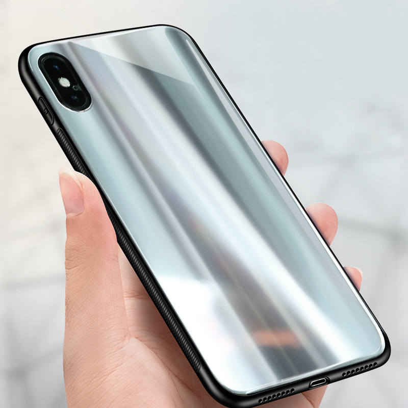 Bakeey Laser Aurora Glossy Plating Glass Mirror Protective Case for iPhone X