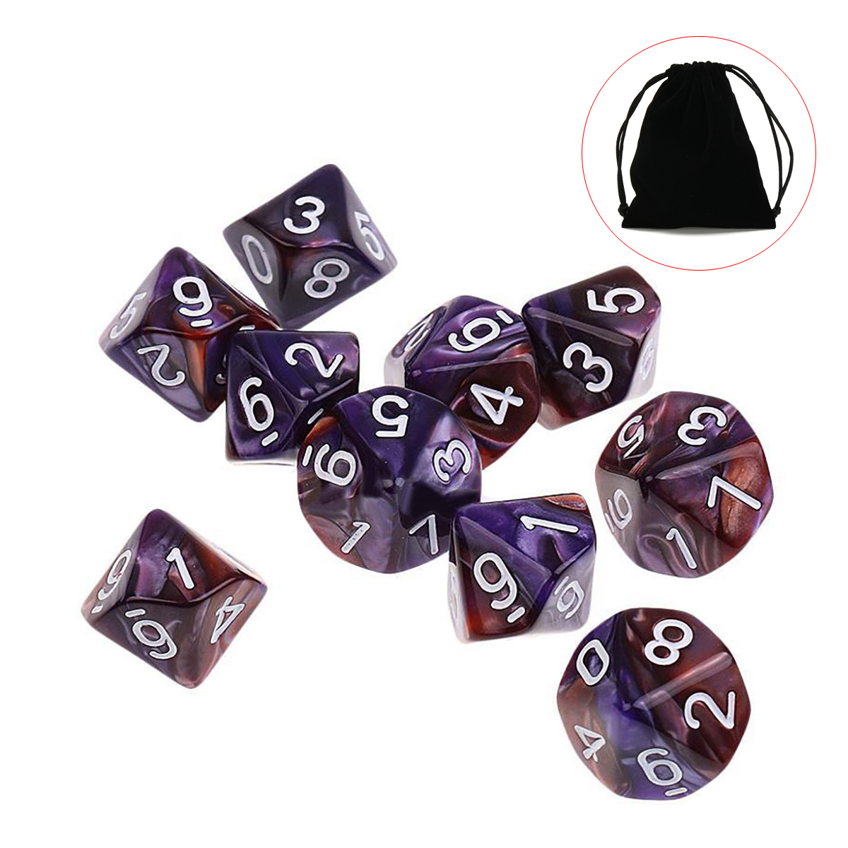 10pcs 10 Sided Dice D10 Polyhedral Dices Table Games EDC Gadget Playing Multisided Dice Table Games