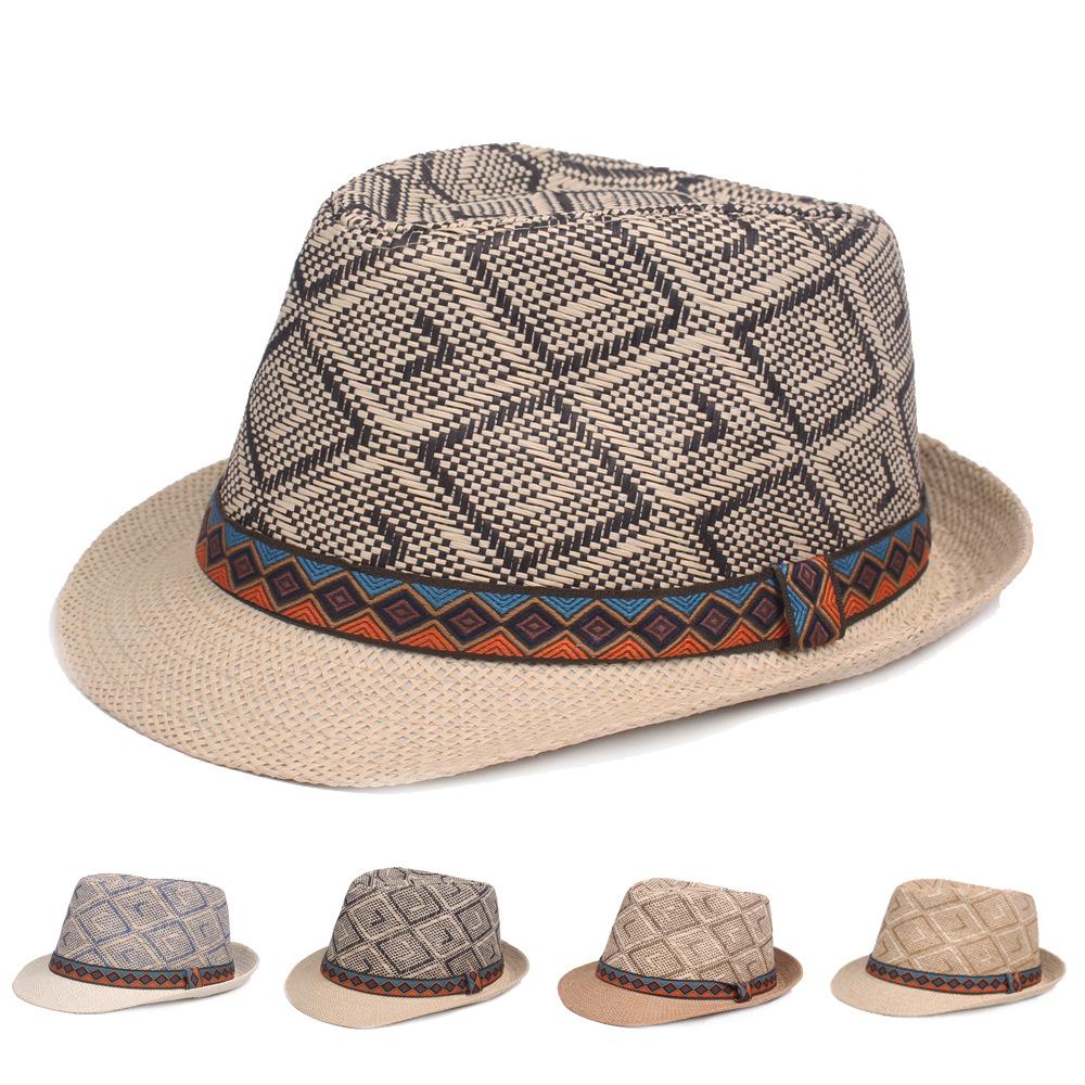d3f954a44928a Men Women Retro Panama Style Ethnic Trilby Fedora Straw Sun Hat with Belt