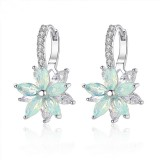 Fashion Flower Zirconia Silver Women's Earrings Anallergic Piercing Dangle Earring for Women