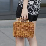 Women Vintage Handmade Bamboo Rattan Straw Handbag Storage Box Luggage Bag