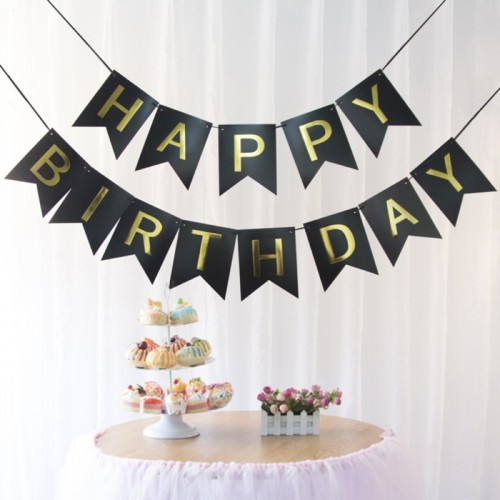 1 SET Paper Happy Birthday Party Bunting Banner Decorations Hanging Pastel Flags Party Decora