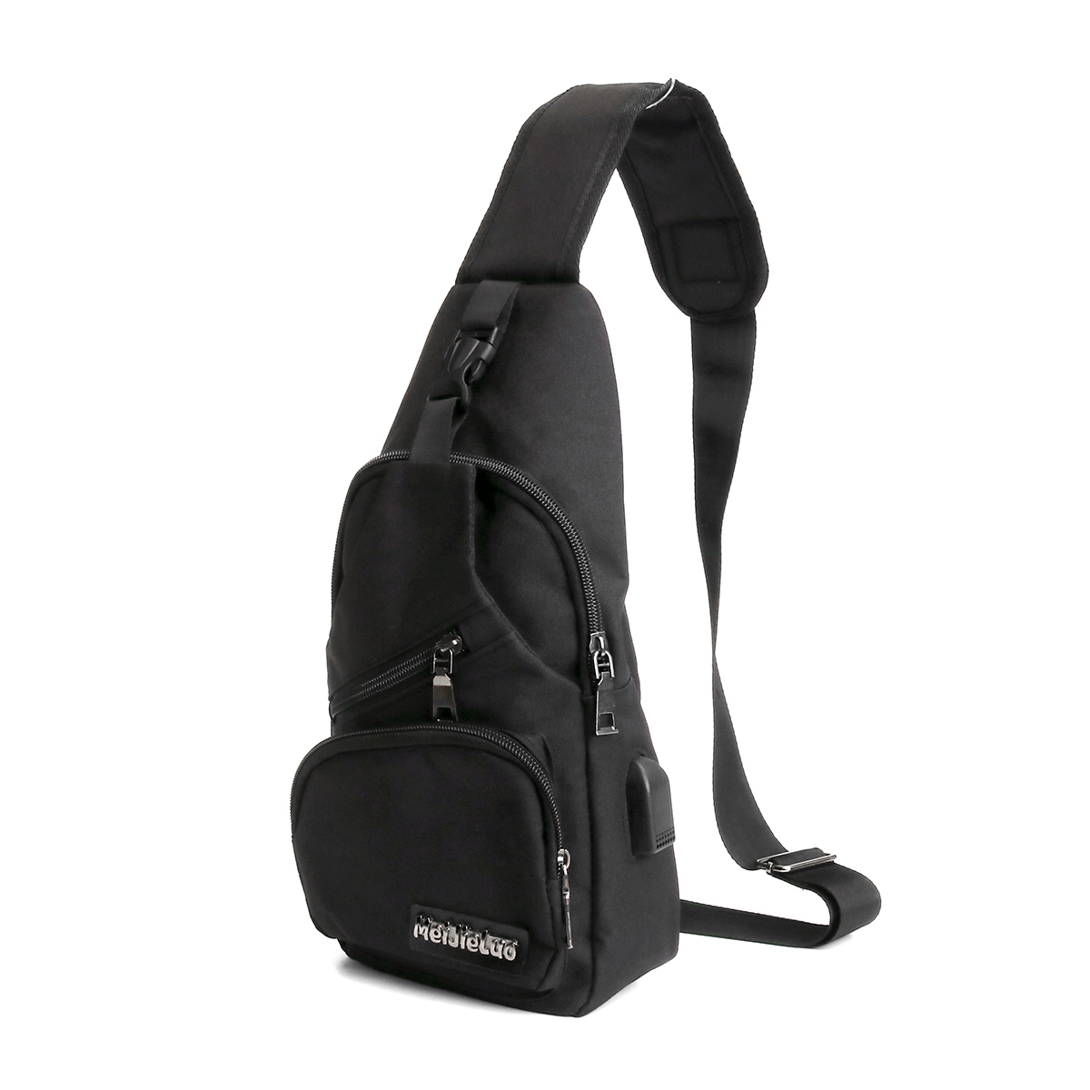 Men Usb Charging Shoulder Chest Bag Sling Backpack Waterproof Sports Travel Pouch Alexnld Com
