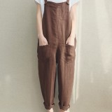Women Solid Color Linen Cotton Strappy Pocket Loose Harem Jumpsuit