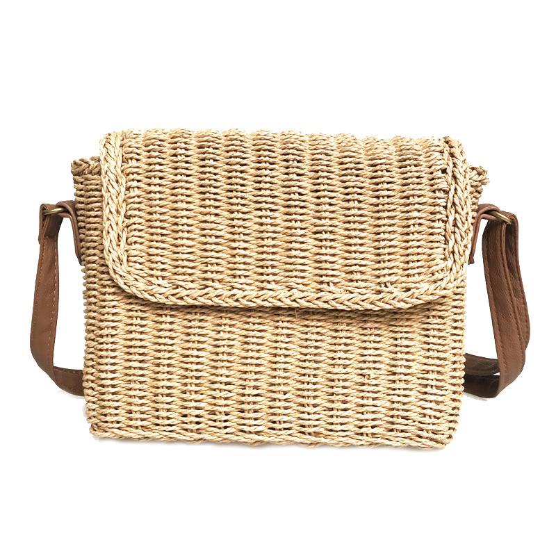 Woman Straw Rattan Crossbody Bag Vintage Handmade Shoulder Pack Handbag