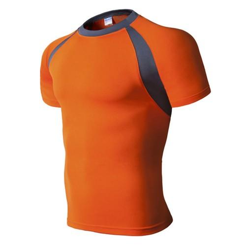 Men's Running Fitness Slim Quick-drying T-shirt Breathable Color Block Short Sleeve Tops