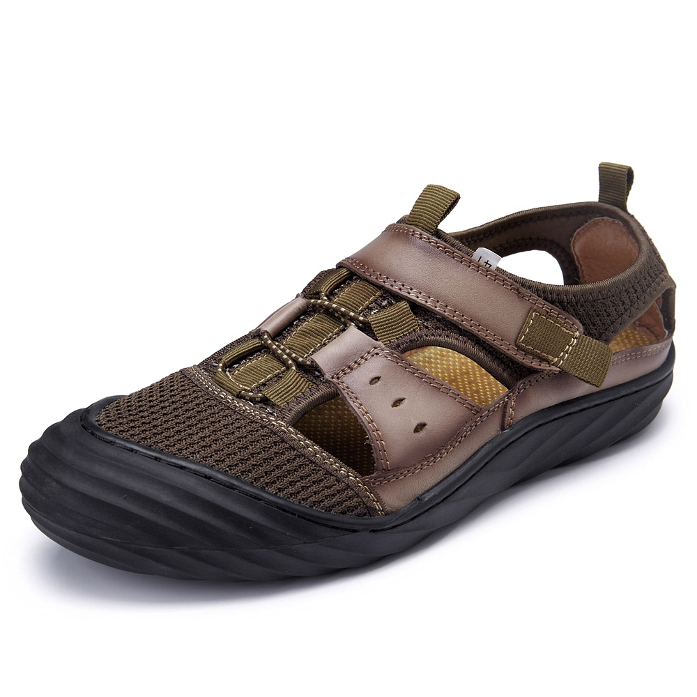 Men Breathable Hook Loop Leather Sandals Hollow Out Beach Shoes
