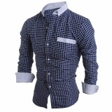 Mens Long Sleeve Plaid Printing Splice Contrast Color Fit Casual Designer Shirts