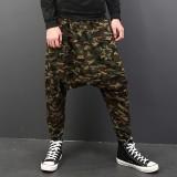Men's Camouflage Casual Harem Pants Slacks Jogger Dance Sport Crotch Trousers