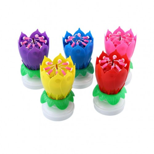 Musical Lotus Rotating Flower Happy Birthday Party Gift Candle Lights Atmostphere Light