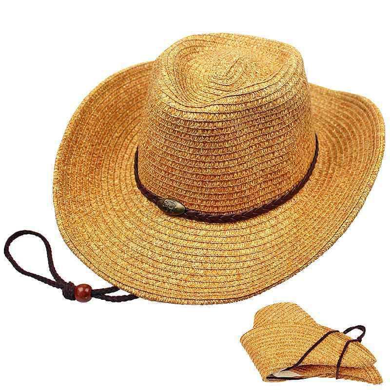 98d46f8bf5c2a Unisex Panama Folding Straw Cowboy Hat Classic Western Beach Sun Wide Brim  Bucket Caps