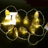 Battery Operated Golden Fanoos Lantern 10 LED String Fairy Holiday Light for Party Home Decoration