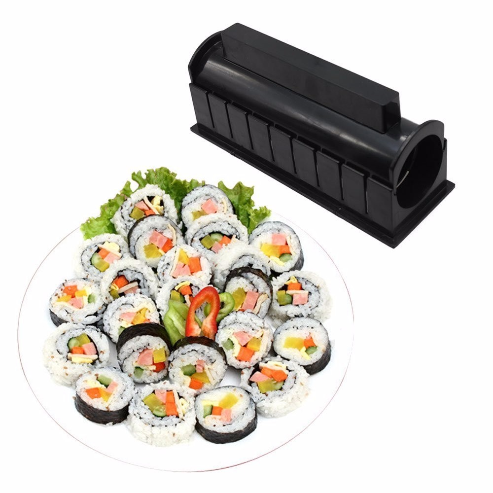 DIY 10 In 1 Sushi Maker 10pcs Rice Roll Mold Kitchen Chef Set Mould Roller Cutter Sushi Making Tools