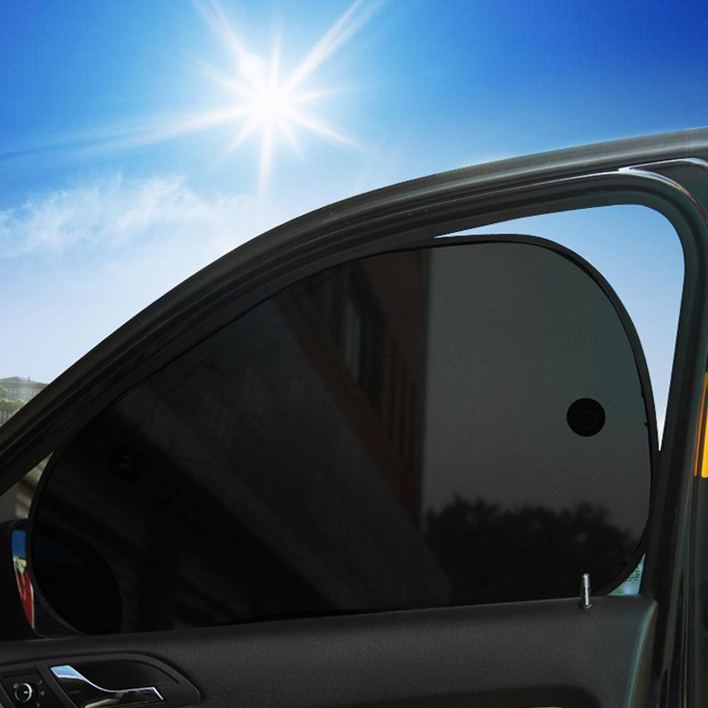 2pcs Oblique Net Yarn Car Window Sunshade Curtain Summer Suction Cup Sun Protection Lightproof Mat