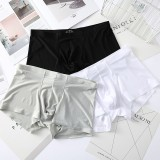 Mens Sexy Thin Ice Silk Underwear Pure Color Seamless Breathable Boxers