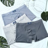 Mens Mid Rise Solid Color Ice Silk Breathable Stripes Casual Underwear Boxers