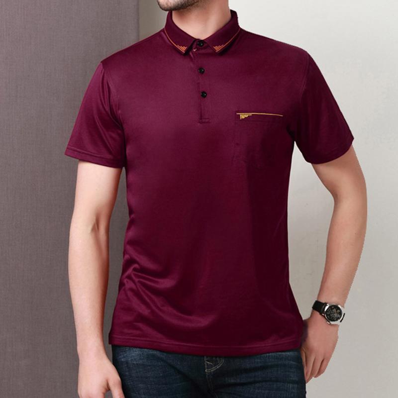Men's Business Casual Short Sleeved Golf Shirt Summer Breathable Mercerized Cotton Lapel Tops