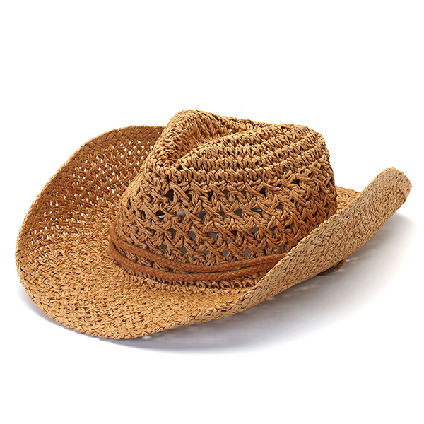 3b3da44ff3c74e Mens Fedora Straw Hollow Out Cowboy Hat Summer Breathable Wide Brim Jazz Cap