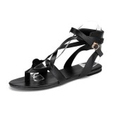 Large Size Roman Ankle Cross Strap Casual Clip Toe Sandals