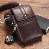 Ekphero Men Cowhide Phone Bag Waist Bag Vintage Belt Bag