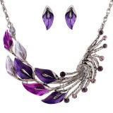 Gradient Color Leaf Peacock Enamel Crystal Necklace Dangle Earrings Jewelry Set for Women