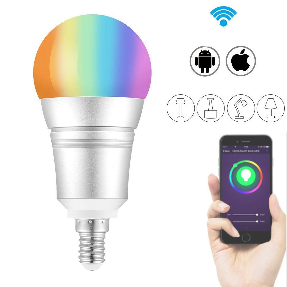 e27 e14 b22 9w rgb warm white wifi led smart light bulb work with alexa voice control ac110 255v. Black Bedroom Furniture Sets. Home Design Ideas